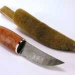 Seal hunter puukko (10 / 2009) - damascus steel, nickel silver, amboina burl